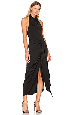 Voltaire Backless Draped Midi Dress en Noir