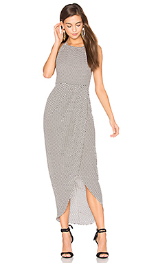 Etienne High Neck Ruched Maxi Dress en Imprimé