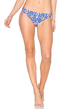 Mosaic Floral Bikini Bottom en Imprimé Bleu Marine