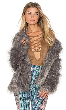 Park Ave Faux Fur Jacket in Silver Fox Faux Fur