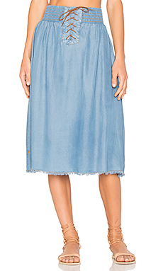 Cali Chambray Skirt en Bleu