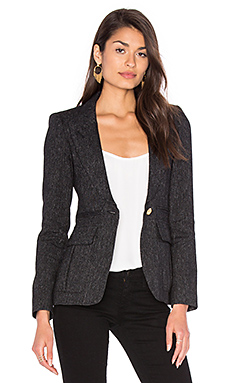 Peaked Lapel Inverted Pleat Pocket Blazer en Tweed Noir