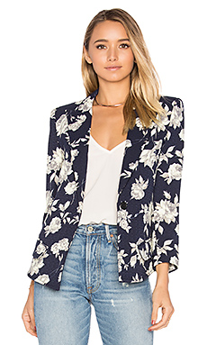 Sharp Shoulder Blazer en Navy Floral