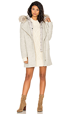 Rafaella Coyote Fur Trim Coat in Ash