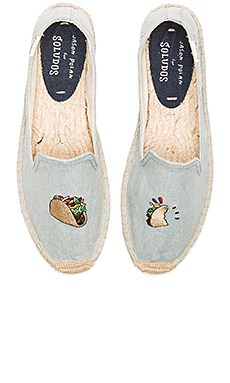 Embroidered Smoking Slipper en Chambray
