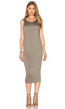 Textured Jersey Midi Dress in Military Olive