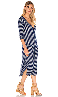Alline Stripe Loose Knit Long Sleeve Button Up Dress in Navy
