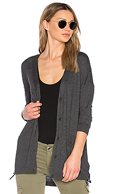 Cashmere Blend Lace Up Cardigan en Graphite