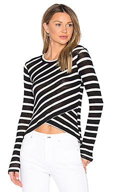 Stripe Crossfront Top en Noir