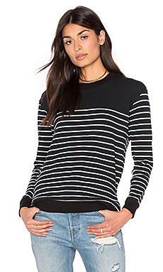 Adelaide French Terry Side Zippers Pullover – Black & White