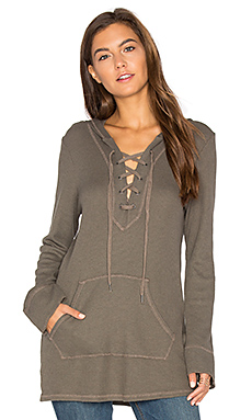 Thermal Lace Up Hoodie in Military Olive