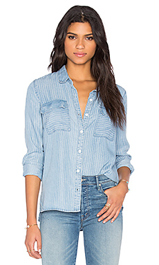 Faded Pinstripe Button Down in Light Wash