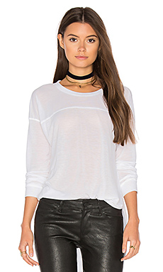 Heathered Long Sleeve Crew Neck Tee en Blanc