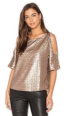 Sequin Embellished Cut Out Shoulder Top en Copper