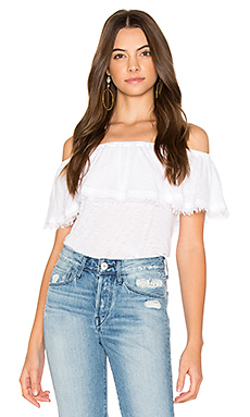 Off Shoulder Ruffle Top en Blanc