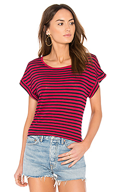 French Stripe Tee en Carreaux Rouge