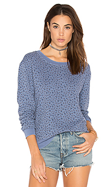 French Terry Floral Sweatshirt en Vintage Blue