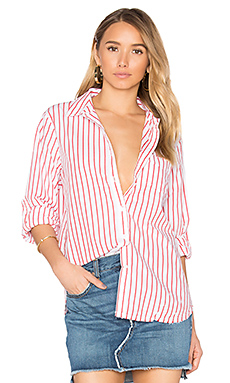 Oxford Shirting Button Up en Rayé Rouge