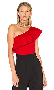 One Shoulder Ruffle Top en Rouge Parfait