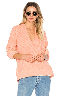 Deep V Neck Pullover en Saumon