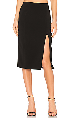 Slick Pencil Skirt With Slit – 黑色
