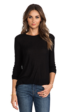 Slub Classic Long Sleeve Tee in Black