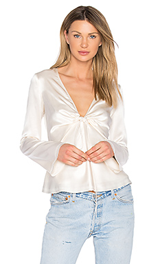 Silk Tie Front Long Sleeve Top in Ivory