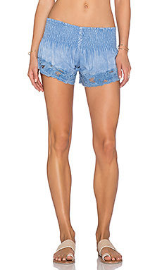 Eyelet Shorts in Chambray Blue