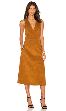 Deep V Neck Overall Dress – 肉桂棕