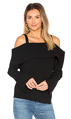 V Back Decollete Top en Noir