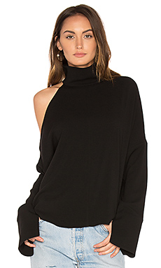 Asymmetrical Cut Out Shoulder Top en Noir