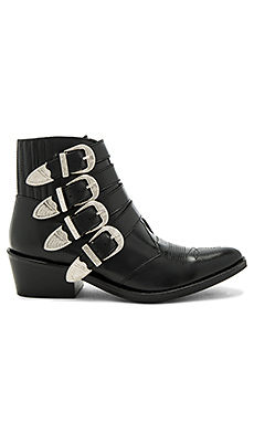 Buckled Leather Bootie en Black Polido