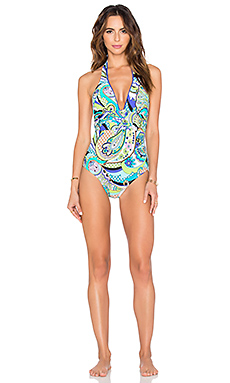 Nomad Paisley Plunge One Piece in Cobalt