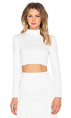Cut Out Back Longsleeve Top en Blanc