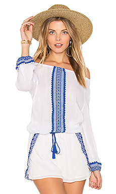 Capri Peasant Top en Trade Winds