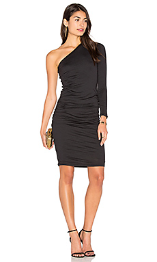 Sheela One Shoulder Midi Dress en Noir