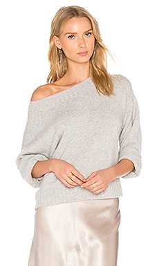 Boxy Off the Shoulder Sweater en Gris Chiné
