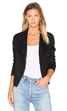 Coated Denim Jacket in Black