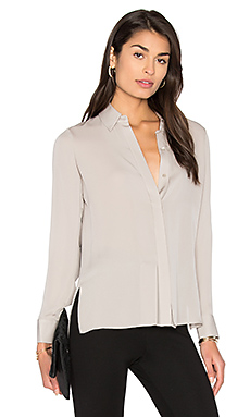 Stitch Pleat Blouse in Taupe