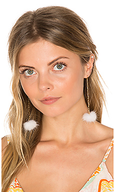 Decades Pom Pom Earrings in White