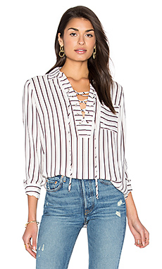 Dean Lace Up Blouse in Ivory Stripe