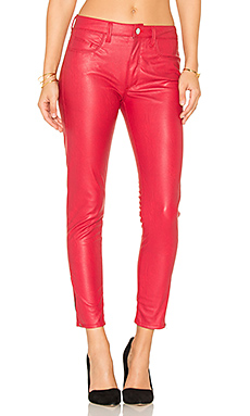 Vegan Leather High Rise Zip Skinny – Fire Engine Red