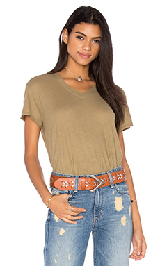 Cotton Jersey V Neck Baby Tee in Dirty Khaki