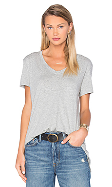 Pima Vintage Pocket V Neck Tee in Grey Heather