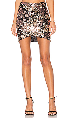 Cross Over Skirt in Black & Rose Gold Sequin