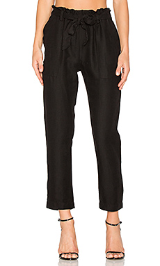 Paper Bag Waist Pant in Black