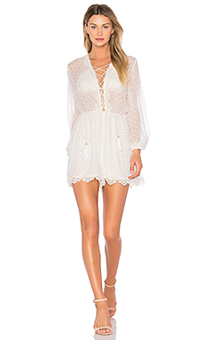 Oleander Lattice Romper in Ivory